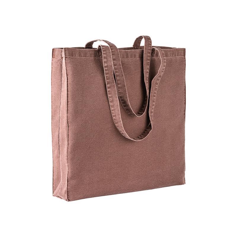 shopper in stonewashed marrone con soffietti e manici cotone