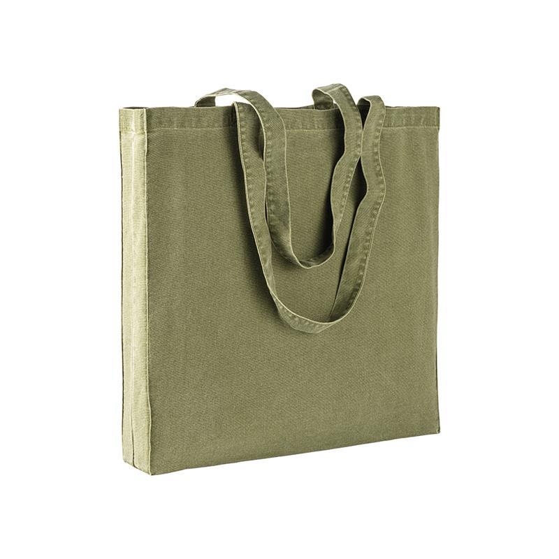 shopper in stonewashed verde militare con soffietti e manici cotone