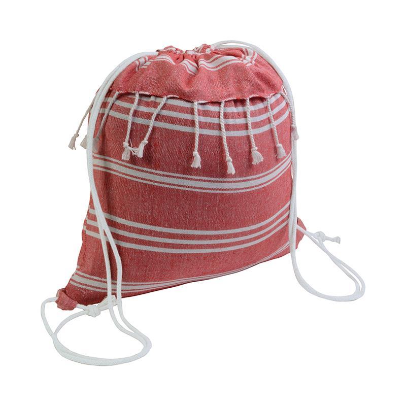sacca in cotone rosso effetto fouta con frange