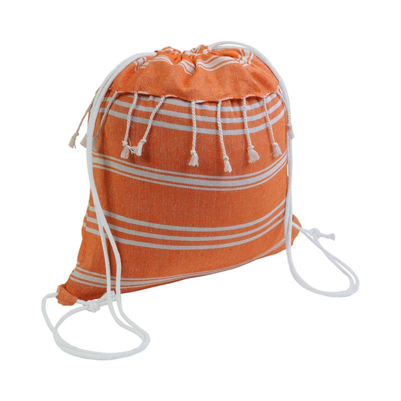 sacca in cotone arancio effetto fouta con frange