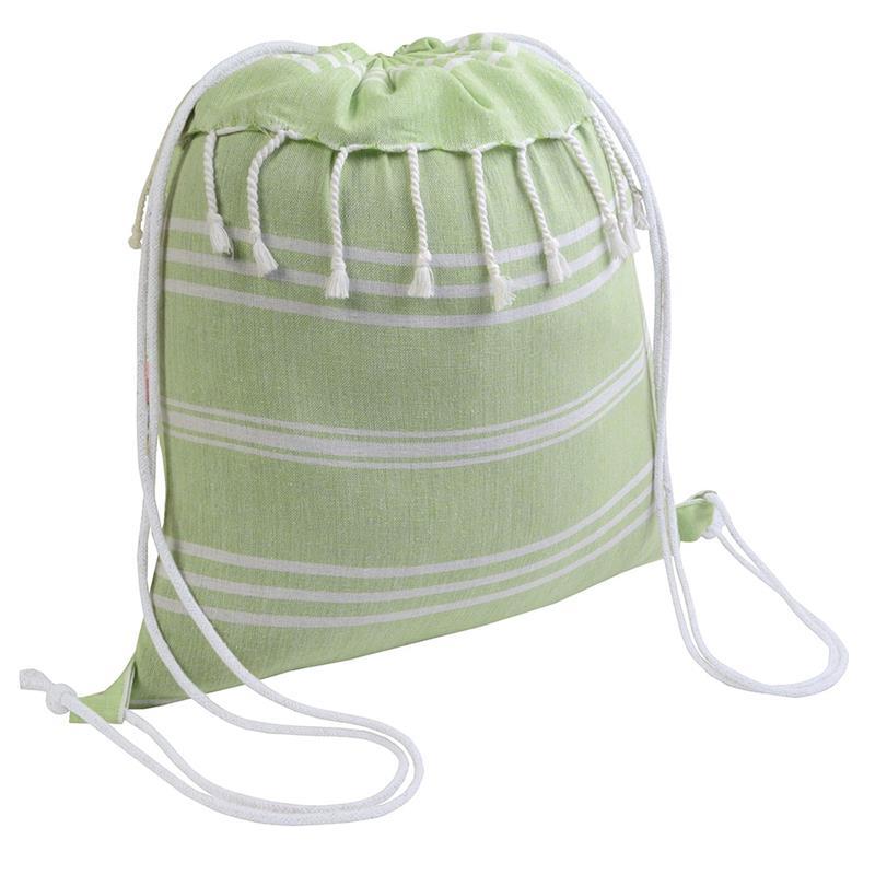 sacca in cotone verde mela effetto fouta con frange
