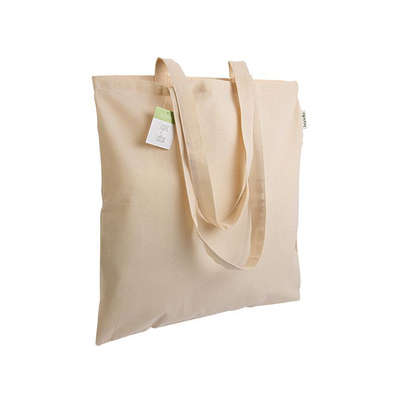 shopper in cotone organico senza soffietti e manici lunghi