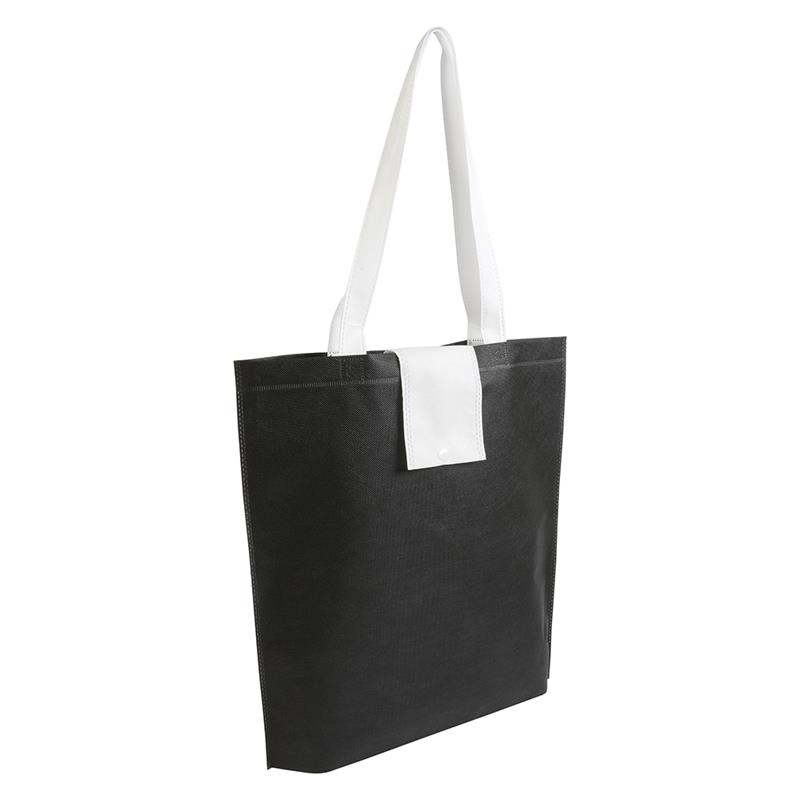 shopper ripiegabile in tnt nero/bianco con soffietti e manici tnt