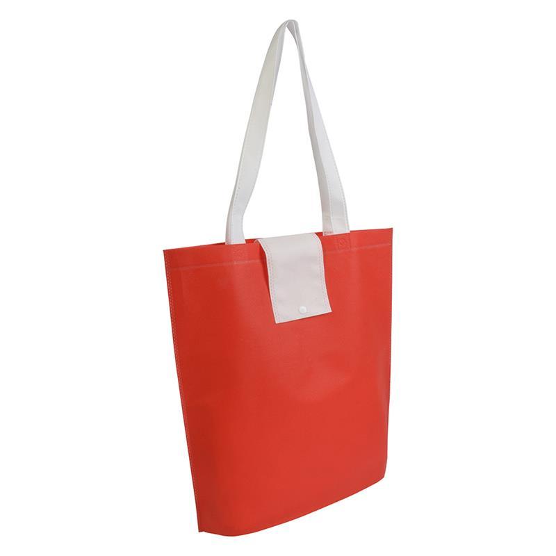 shopper ripiegabile in tnt rosso/bianco con soffietti e manici tnt