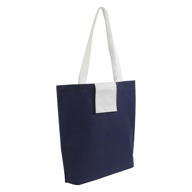 shopper ripiegabile in tnt blunavy/bianco con soffietti e manici tnt