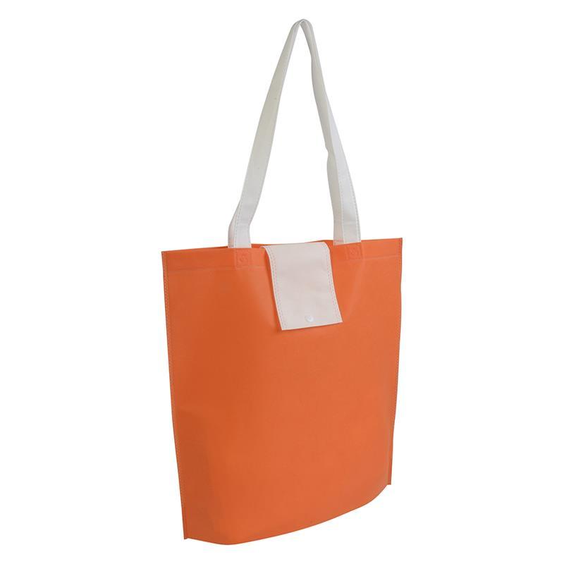 shopper ripiegabile in tnt arancio/bianco con soffietti e manici tnt