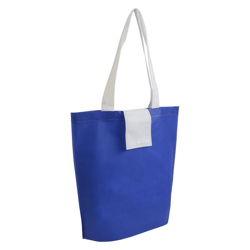 shopper ripiegabile in tnt bluroyal/bianco con soffietti e manici tnt