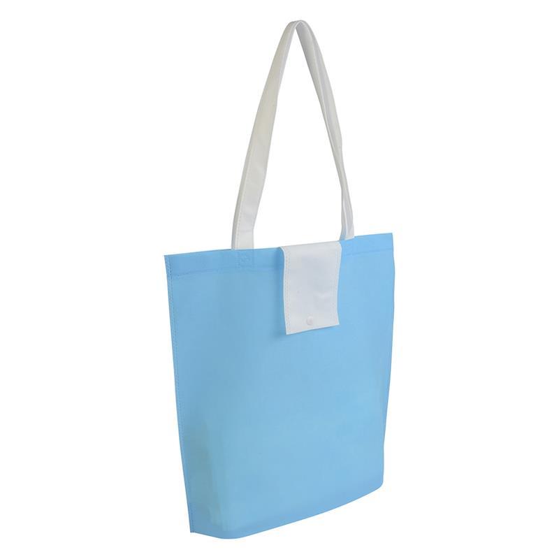 shopper ripiegabile in tnt celeste/bianco con soffietti e manici tnt