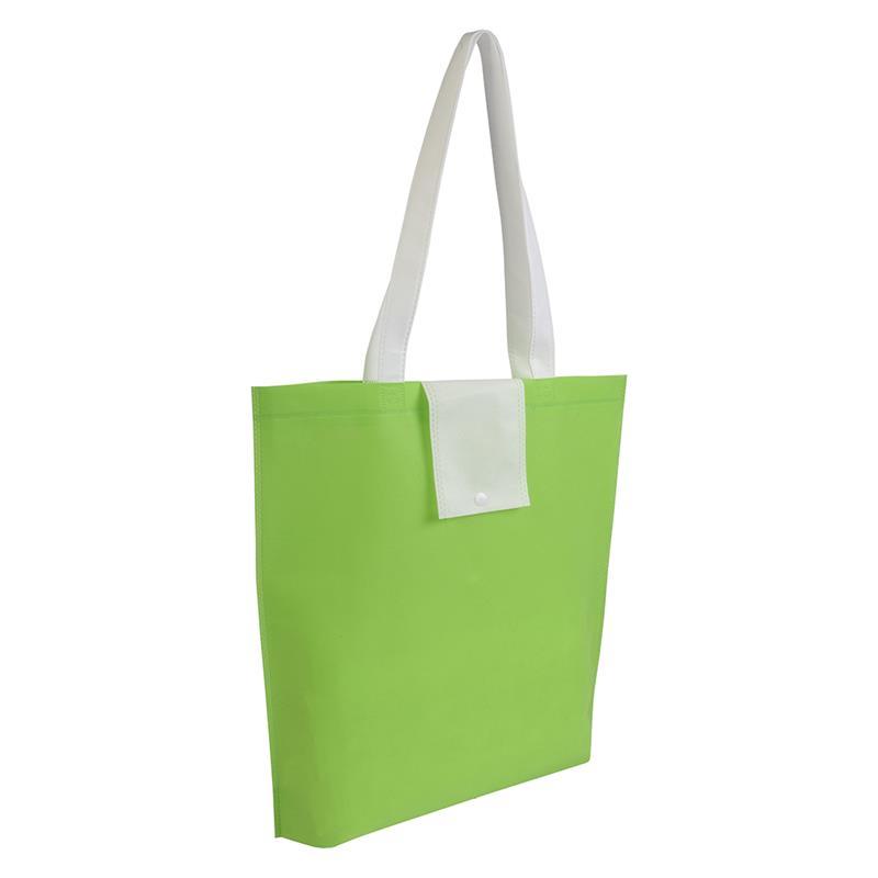 shopper ripiegabile in tnt verdemela/bianco con soffietti e manici tnt