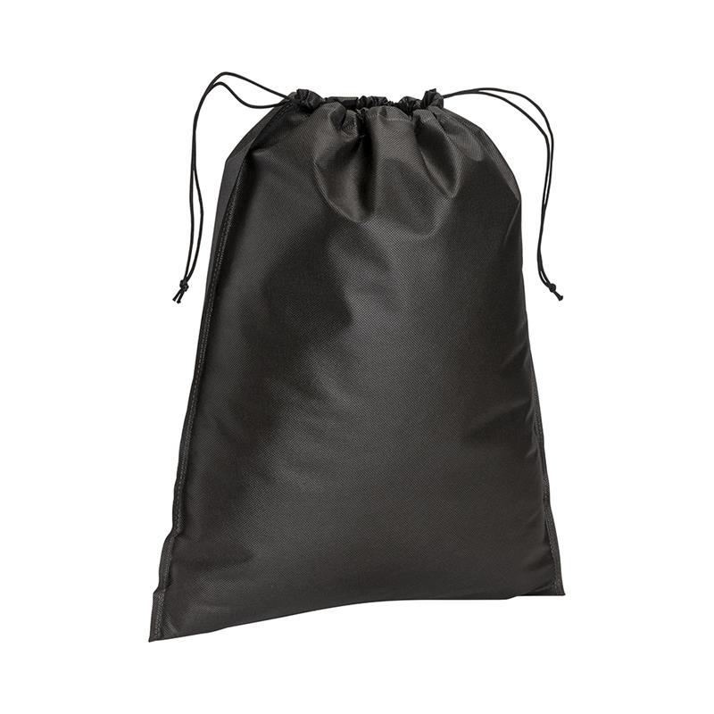 sacchetto in tnt nero con chiusura a strozzo