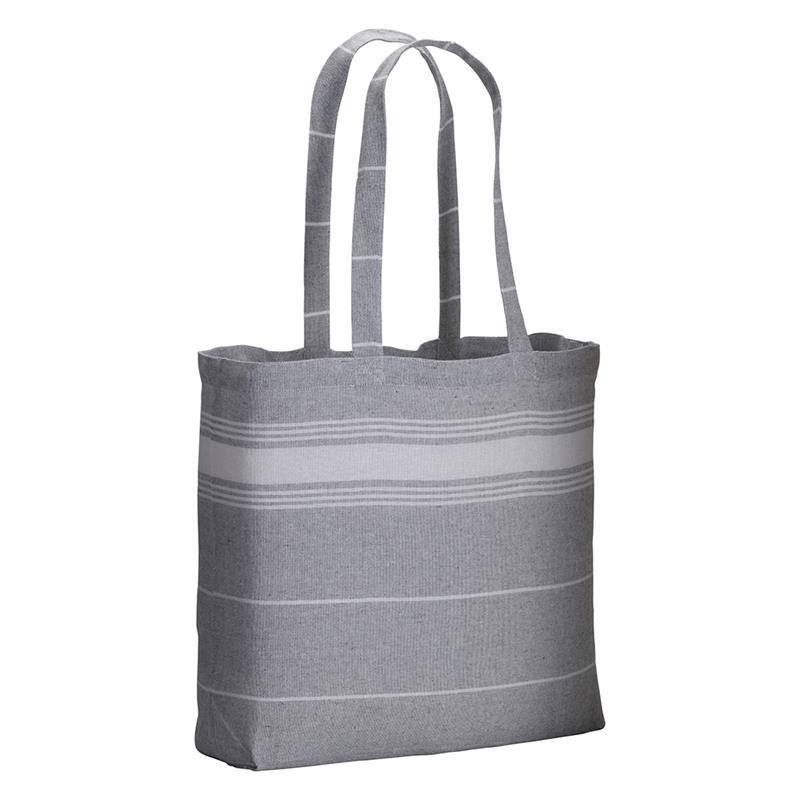 shopper fouta in cotone grigio con manici lunghi