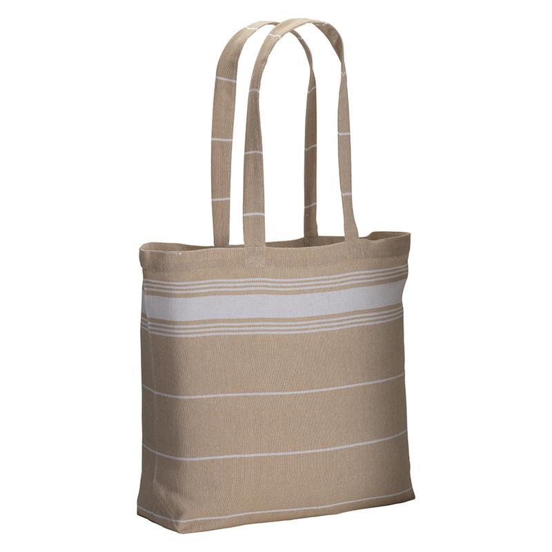 shopper fouta in cotone beige con manici lunghi