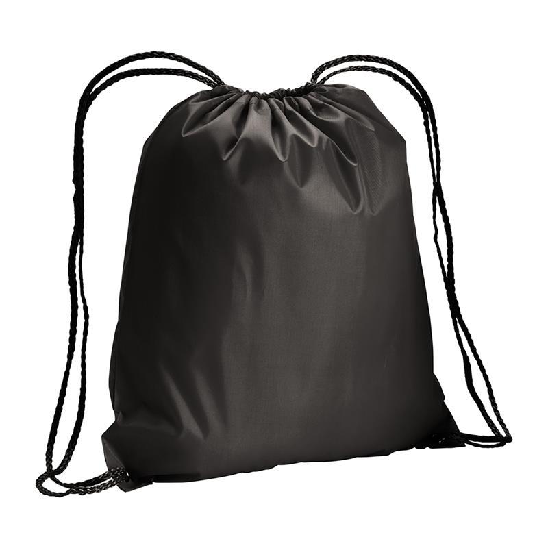 sacca in poliestere nero big-size con lacci neri