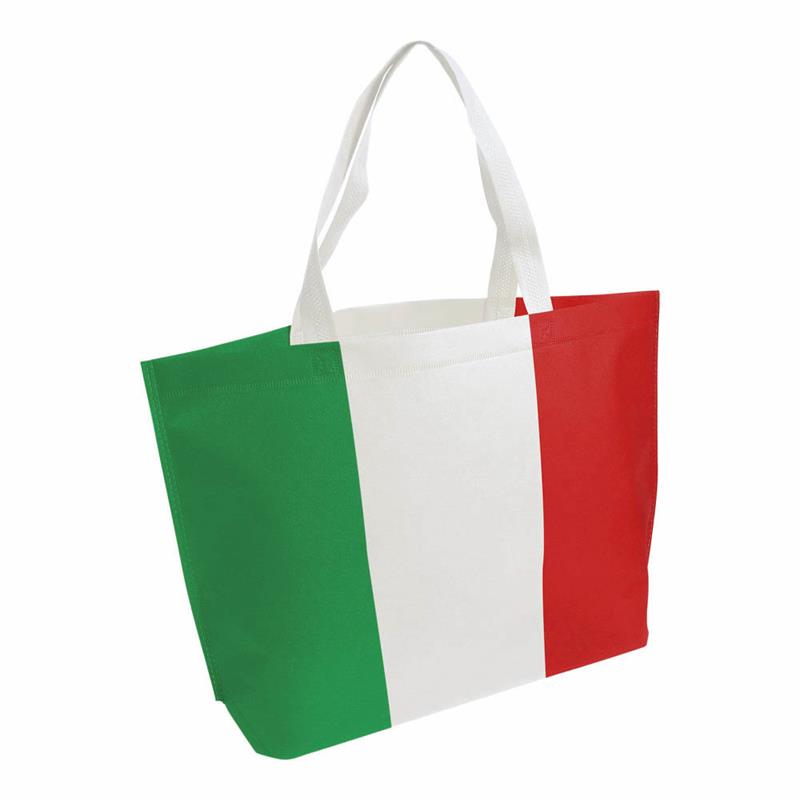 shopper in tnt termosaldato con stampa tricolore soffietto alla base