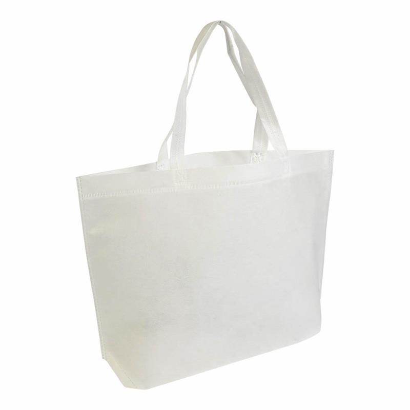 shopper in tnt bianco termosaldato con soffietto alla base
