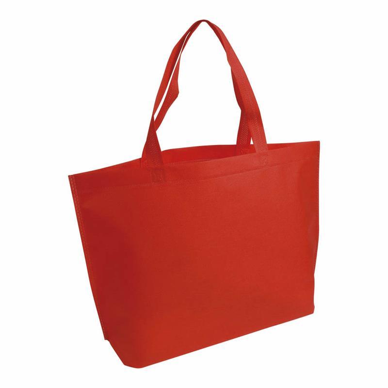 shopper in tnt rosso termosaldato con soffietto alla base