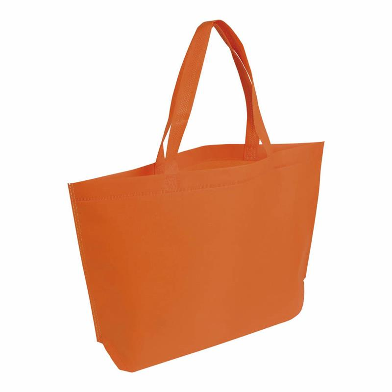 shopper in tnt arancio termosaldato con soffietto alla base