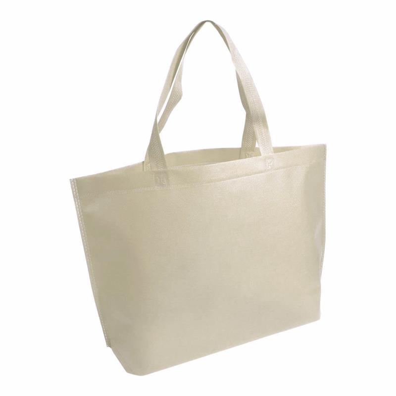 shopper in tnt beige termosaldato con soffietto alla base