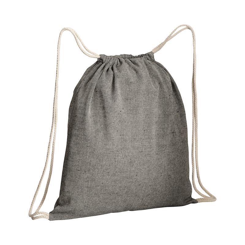 sacca in cotone riciclato nero effetto melange lacci bianchi