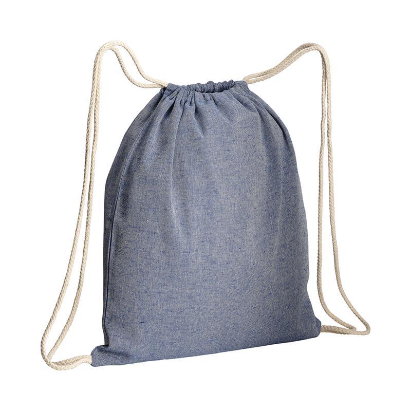 sacca in cotone riciclato blu royal effetto melange lacci bianchi