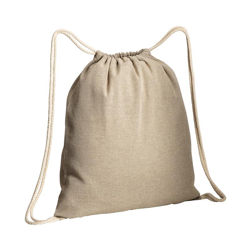 sacca in cotone riciclato naturale effetto melange lacci bianchi