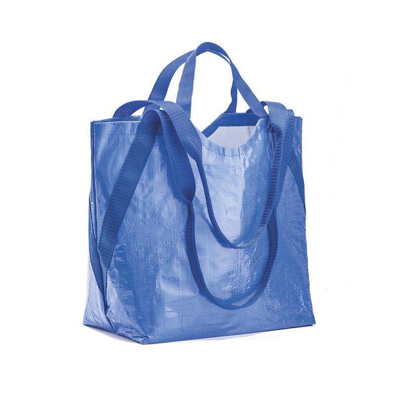 shopper in pp blu royal con doppi manici a nastro corti e lunghi