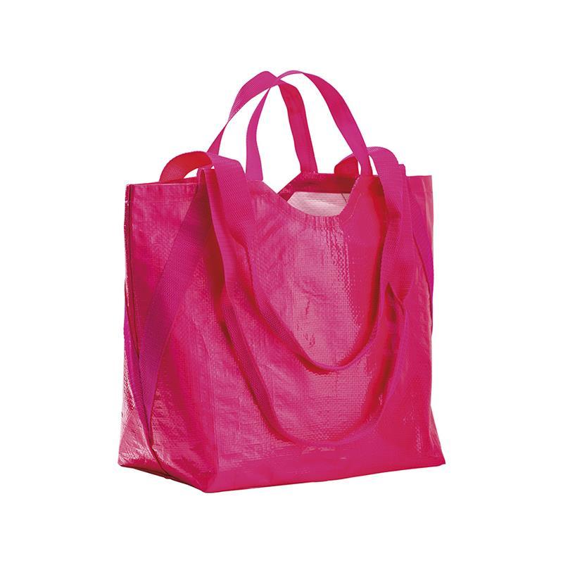 shopper in pp fuxia con doppi manici a nastro corti e lunghi
