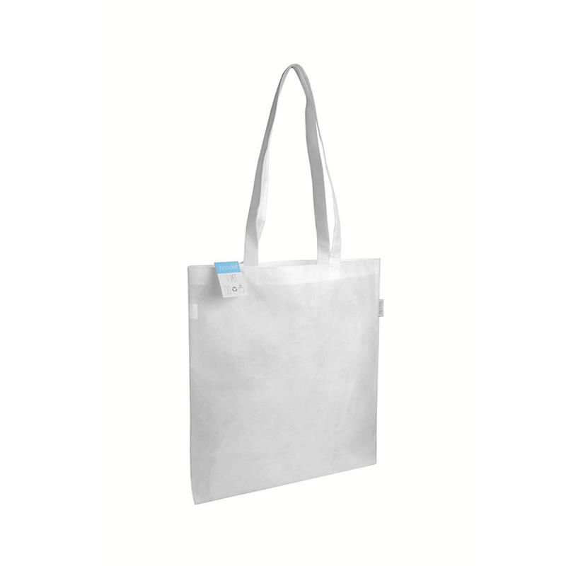 shopper bianca in r-pet con manici lunghi