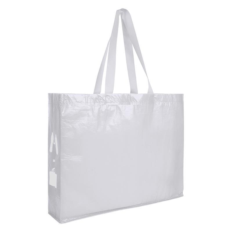 shopper bianca in r-pet con soffietti laterali e manici lunghi