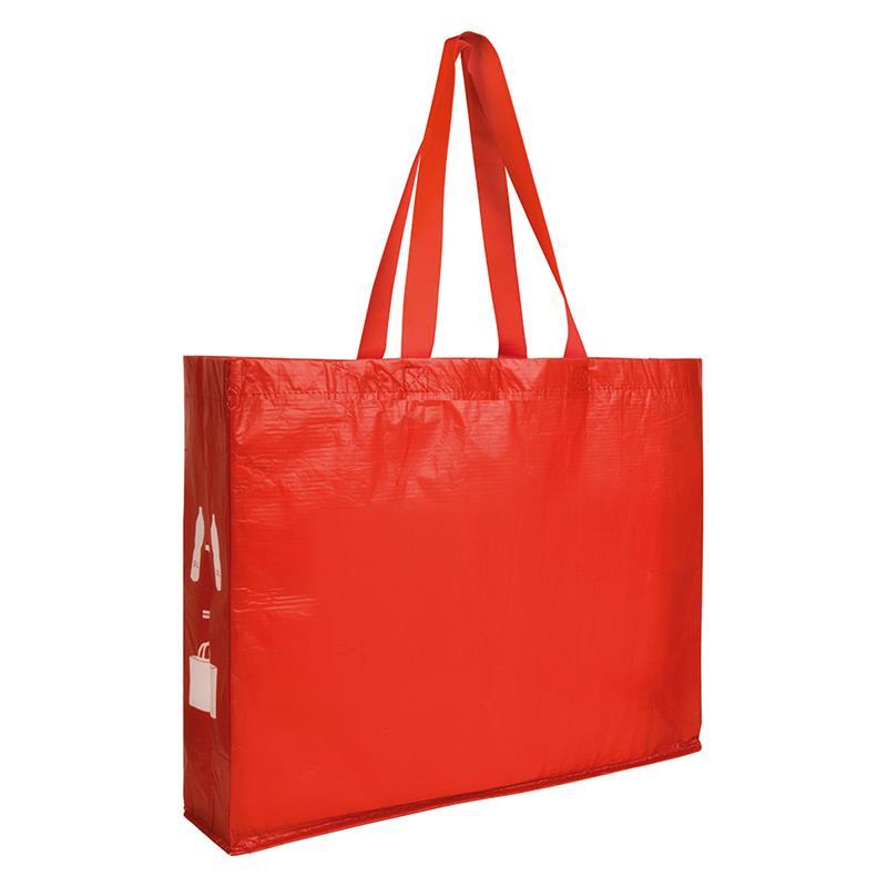 shopper rossa in r-pet con soffietti laterali e manici lunghi