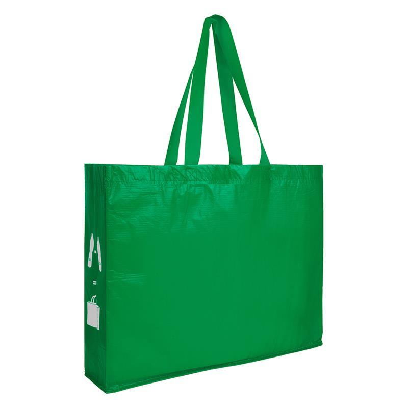shopper verde in r-pet con soffietti laterali e manici lunghi