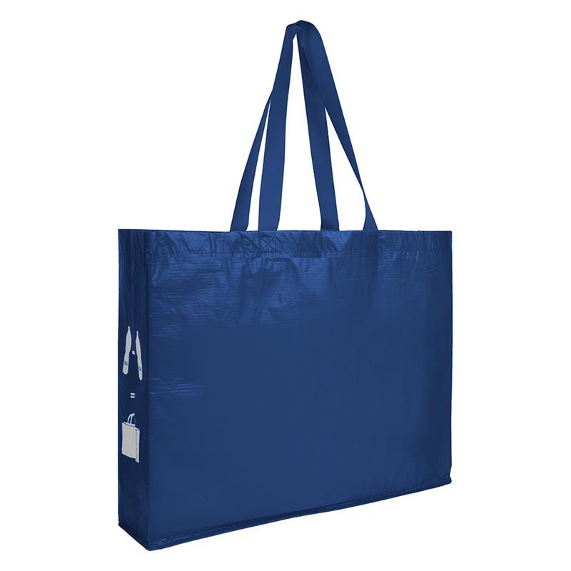 shopper blu navy in r-pet con soffietti laterali e manici lunghi