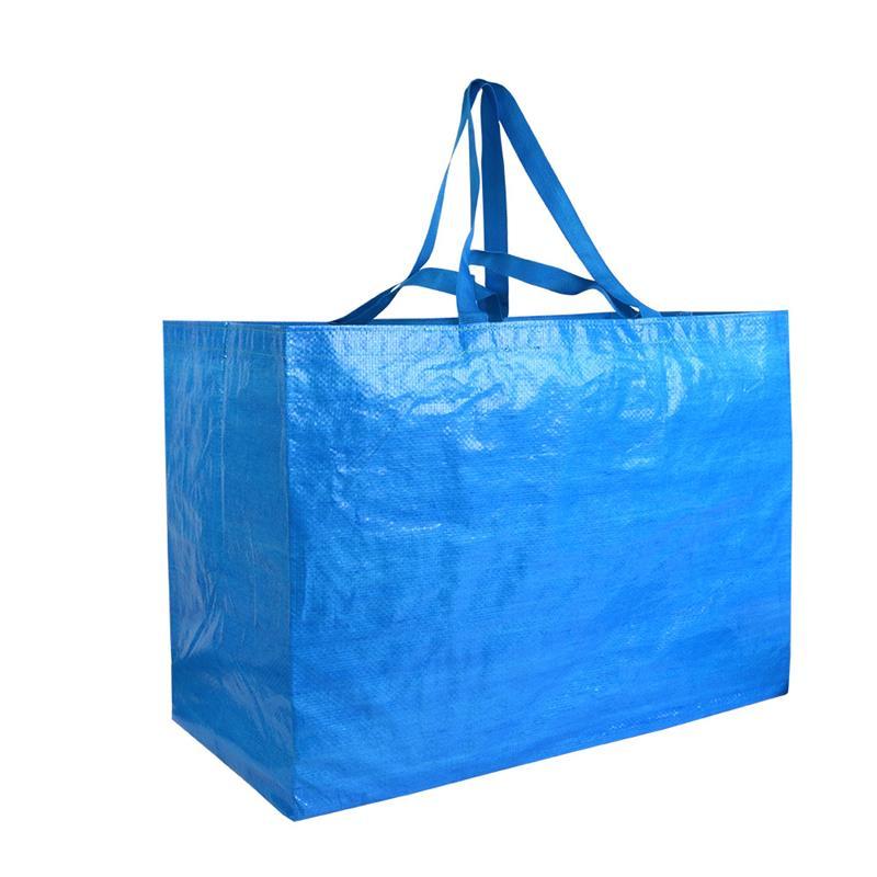 shopper maxi in pp blu royal con doppi manici a nastro corti e lunghi