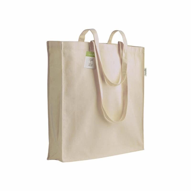 shopper in cotone organico con soffietti e manici lunghi