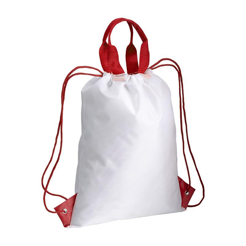 zainetto in poliestere con maniglia e manici rossi