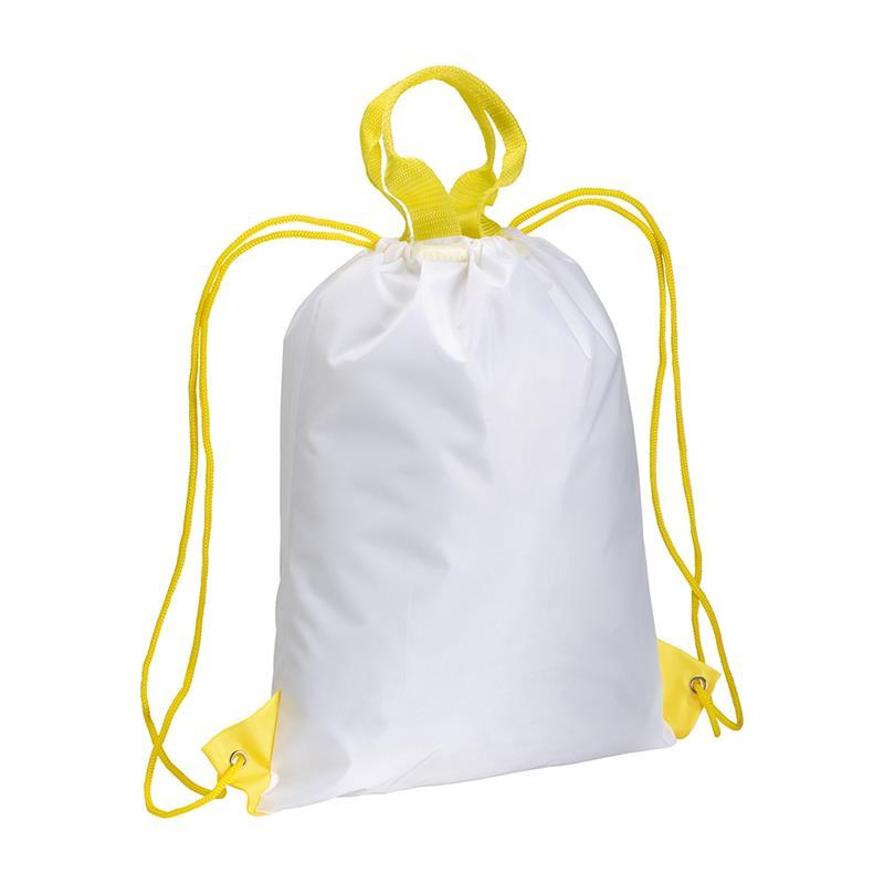 zainetto in poliestere con maniglia e manici gialli