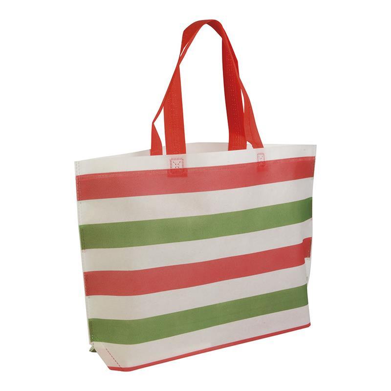 shopper in tnt termosaldato con stampa tricolore soffietto alla base