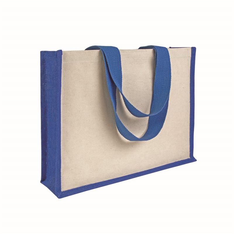 shopper con soffietto alla base in juta e canvas blu