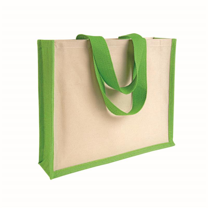shopper con soffietto alla base in juta e canvas verde