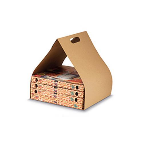 portapizza in carta avana, maniglia fustellata e cartoni di rinforzo
