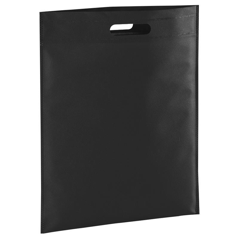 shopper in tnt nero con manico fagiolo