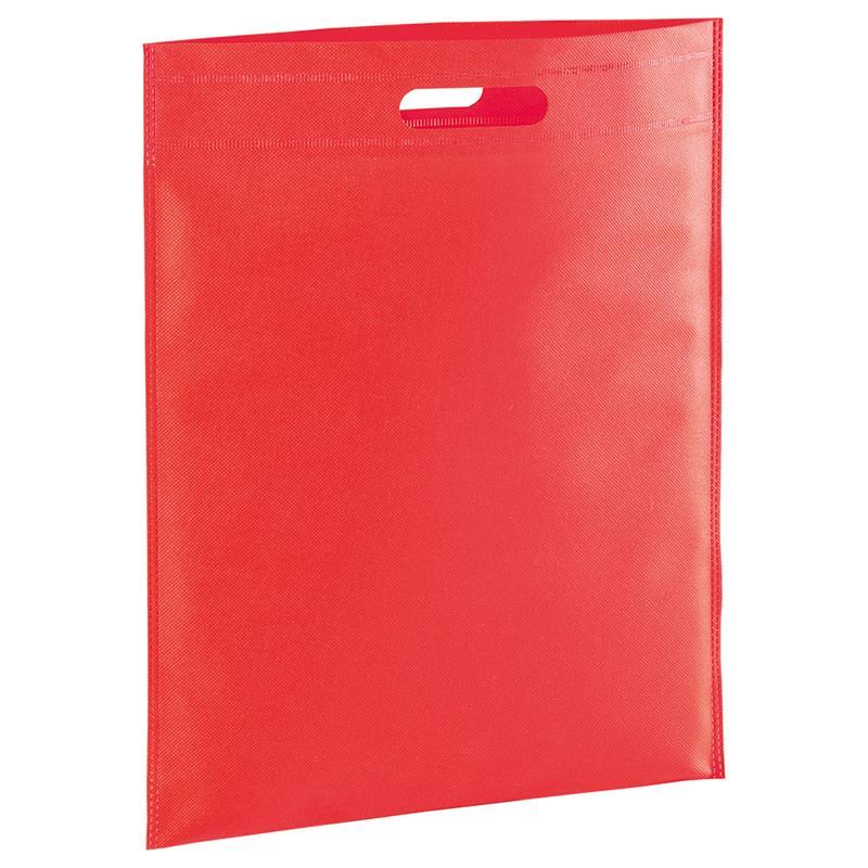 shopper in tnt rosso con manico fagiolo