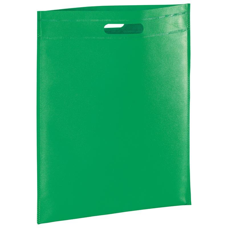 shopper in tnt verde con manico fagiolo