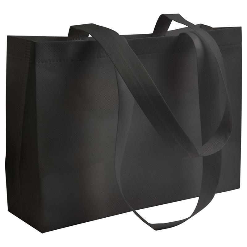 shopper in tnt nero con soffietti manici tnt termosaldati