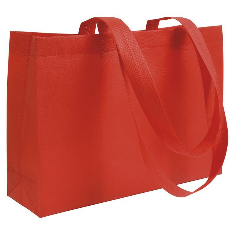 shopper in tnt rosso con soffietti manici tnt termosaldati