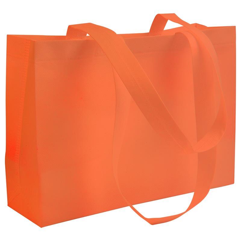 shopper in tnt arancio con soffietti manici tnt termosaldati