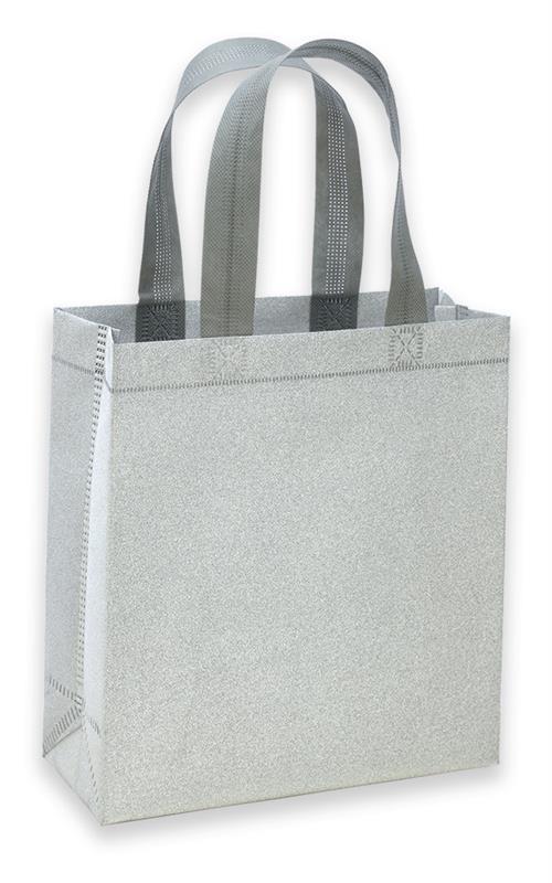 shopper in tnt laminato glitterato argento con manici tnt termosaldati