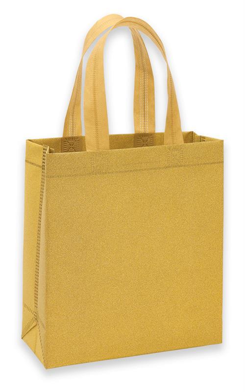 shopper in tnt laminato glitterato oro con manici tnt termosaldati