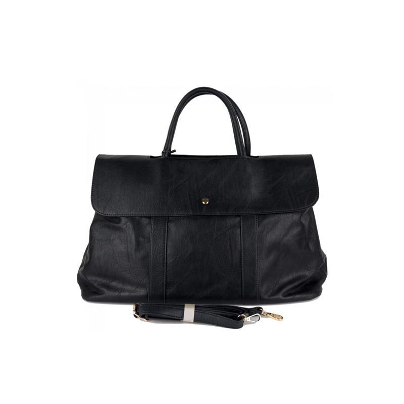borsa in ecopelle nera con patta e scompartimenti interni