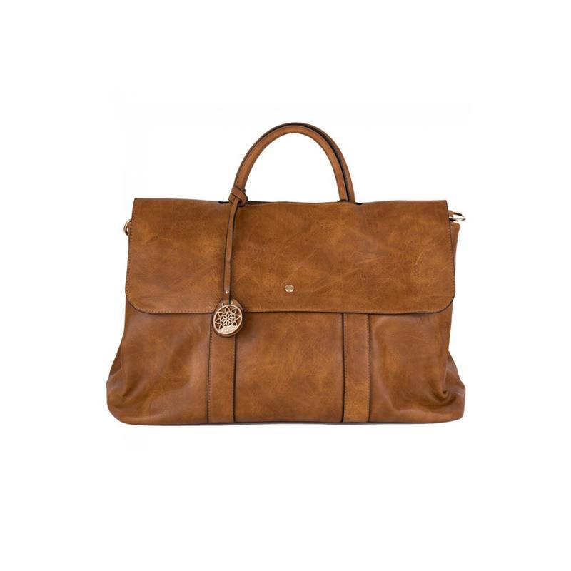 borsa in ecopelle cognac con patta e scompartimenti interni